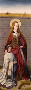 zwei altarflügel: die heilige katharina von alexandrien mit kniendem stifter; madonna mit kind (pair of altar wings) by german school-southern (15)