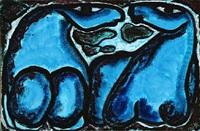 grøn blå nat med heste by vibeke alfelt