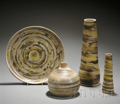 platter 3 vases 4 pieces by gordon martz