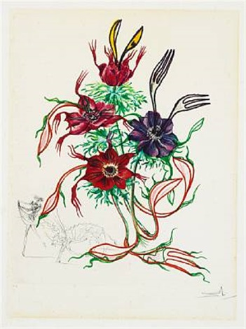 anemone per anti pasti from the series surrealistic flowers by salvador dalí