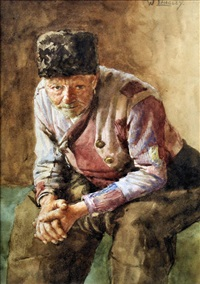 portrait of a seated man by walter langley