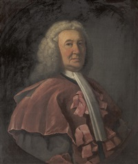 portrait of andrew macdougall (or macdowell, mcdouall), lord bankton (1685-1760), half length, wearing legal robes by william millar