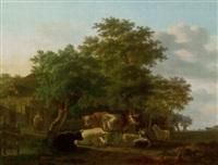 kühe, schafe und ziegen vor bauerngehöft by gillis smak gregoor