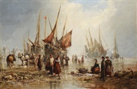 a bustling shore scene with figures and vessels by william edward webb