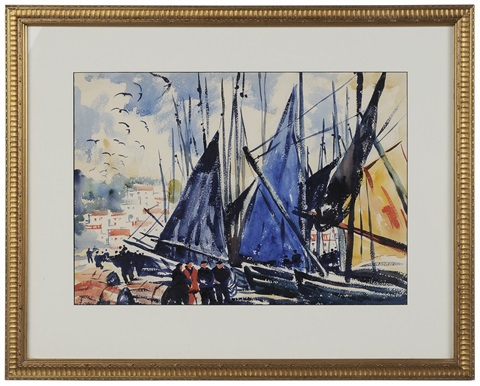 boats in a harbor concarneau france by thornton oakley