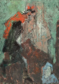 french gendarme (running man with red scarf) by lyonel feininger