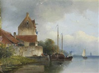 a peaceful day on the estuary by jan hendrik willem hoedt