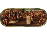 muzio scevola brucia la sua mano destra di fronte al re etrusco porsenna (gaius mucius scaevola verbrennt seine rechte hand vor den augen des etruskerkönigs porsenna) by bonifazio de pitati