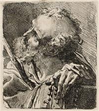 büste eines heiligen mit stock und rosenkranz by gaetano gandolfi