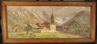 le village de pinsot au printemps, fonds sur le glacier des gleyzins by etienne albrieux