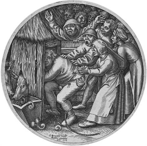 ein betrunkener bauer wird in den schweinekoben gestoßen by johannes wierix by pieter brueghel the elder