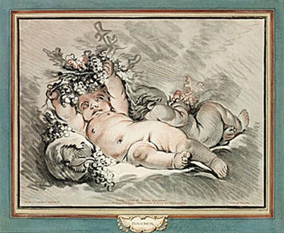 deux amours étendus from le plafond de fontainbleau lautomne after boucher by gilles antoine demarteau