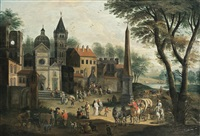 entrance to a village with an obelisk by mathys schoevaerdts