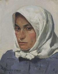 junge bäuerin mit kopftuch by thomas baumgartner