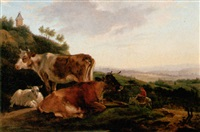 landscape with cattle and sheep resting, a town beyond by jean-françois legillon