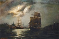 moon over the port of hamburg by alfred jensen