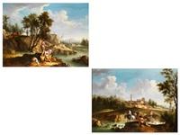 südliche landschaften mit figurenstaffage (pair) by joseph stephan