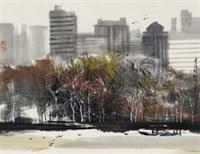 曼哈顿风光 镜心 纸本 by liu maoshan