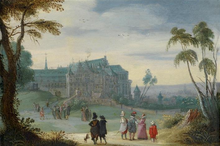 blick auf den coudenberg-palast in brüssel mit dem park, im hintergrund die tiefer gelegene stadt mit dem rathaus; landschaft mit einem am wasser gelegenen landsitz, im hintergrund eine stadt, die anhand des kirchturms, der dem der sint rombout-kathedrale by adriaen pietersz van de venne