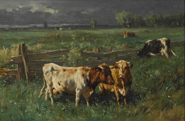 weidende kühe bei aufziehendem gewitter by johannes hubertus leonardus de haas
