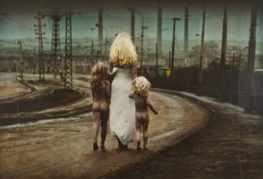 destiny walks down to the river carying two innocent children by jan saudek