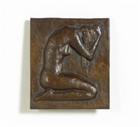 bronzerelief. knieender weiblicher akt by hans gerwing