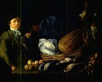 junger mann an einer tafel mit wildbret, gemüse und früchten by g. zillenbach