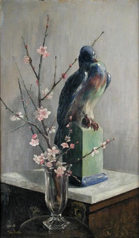 gilbert bayess pigeon with almond blossom by mary georgina barton