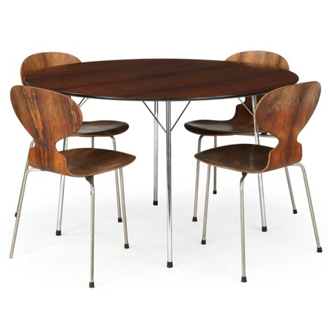 A Circular Dining Table And A Set Of Four Ant Chairs By Arne Jacobsen On Artnet