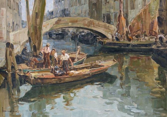 venezianische kanalpartie by angelo brombo