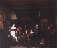 a tavern interior with a merry company drinking and smoking by hendrik (h.) de valk