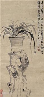 兰花 立轴 水墨纸本 by kang tao