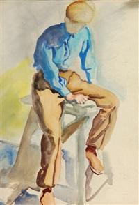sitzender junger mann, den kopf nach unten gerichtet by karl lohse