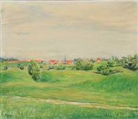 green meadows with village in the background by knud agger