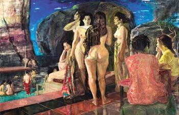 tempat mandi di pinggir laut seaside bathing place by s sudjojono
