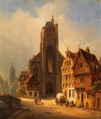 kathedrale in einer mittelalterlichen altstadt by ivo ambroise vermeersch