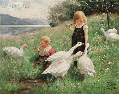 children and geese in a lakeside meadow by alexander max koester