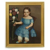 portrait of young girl with vase of zinnia blooms, wearing blue dress, and shoes by horace bundy