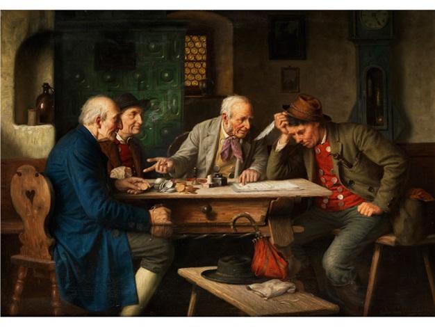 inneres einer bauernstube mit männern am jogltisch beim verhandeln über einen vertrag by josef wagner hohenberg