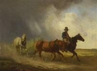 postreiter mit pferden bei aufziehendem gewitter by alois bach