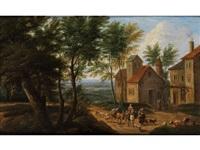 flämische baumlandschaft mit häusergruppe und ziehenden hirten by mathys schoevaerdts