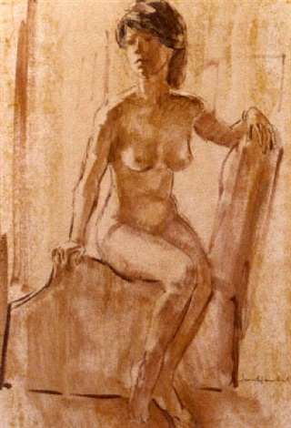 seated nude by irmin henkel