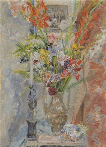 still life with flowers and candle by alexis paul arapov