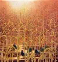 包谷林 (cocks and corn) by liang shimin