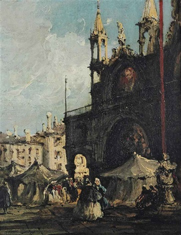 a view of piazza san marco, venice, with elegantly dressed figures in the foreground by francesco guardi