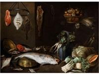 grosses stilleben mit fischen, früchten, gemüse sowie küchengerät by alexander adriaenssen the elder