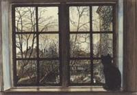 kat siddende i vindue by ib andersen