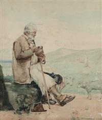 pastore nel paesaggio by eduardo galli