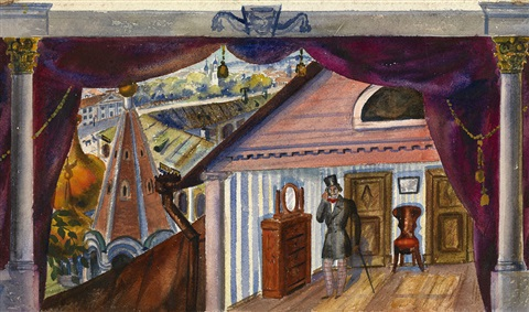 the house of the merchant pavel kuroslepov stage design for an ardent heart by a ostrovsky staged by f komissarzhevsky moscow by boris mikhailovich kustodiev