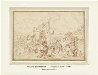 sosta di cacciatori (recto); caccia col falcone (verso) by philips wouwerman
